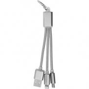 Brelok do kluczy, kabel do ładowania - srebrny