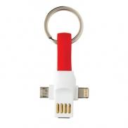 Kabel do ładowania 3 w 1, brelok - czerwony