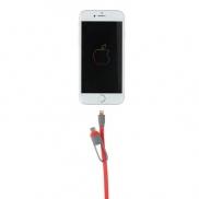 Zwijany kabel do ładowania i synchronizacji 3 w 1 - czerwony