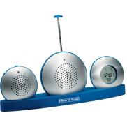 Dyktafon, radio, zegar - srebrny