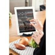 Stojak na tablet Chef, touch pen - czarny, srebrny
