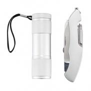 Zestaw narzędzi Quattro, scyzoryk wielofunkcyjny 13 el., latarka - srebrny