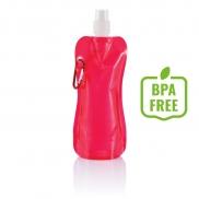 Składana butelka sportowa 400 ml z karabińczykiem - czerwony, biały