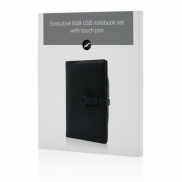 Notatnik A5 Executive, pamięć USB, długopis, touch pen - czarny