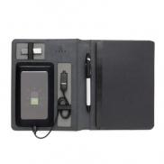 Notatnik A5, power bank 3000 mAh - czarny