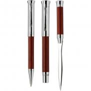 Zestaw piśmienny, długopis, pióro wieczne i nóż do otwierania listów - drewno