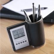 Pojemnik na przybory do pisania, zegar wielofunkcyjny - czarny