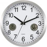Zegar ścienny, stacja pogodowa - srebrny
