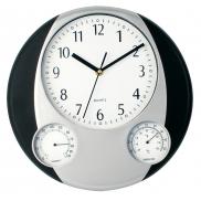 Zegar ścienny, stacja pogodowa - czarny