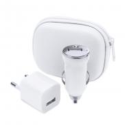 Zestaw do ładowania, ładowarka USB i ładowarka samochodowa USB - biały