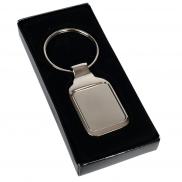 Prostokątny brelok do kluczy - srebrny