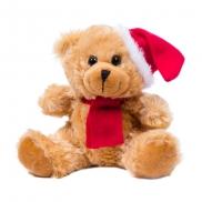 Clarence, pluszowy miś świąteczny - brązowo-czerwony