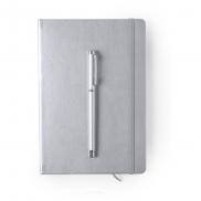 Notatnik ok. A5, pióro kulkowe - srebrny
