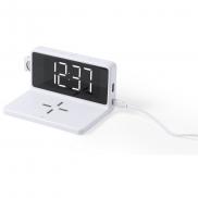 Ładowarka bezprzewodowa 5W, zegar na biurko z budzikiem - biały