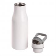 Butelka termiczna 475 ml Air Gifts z uchwytem i metalowym ringiem na spodzie, pojemnik w zakrętce - biały