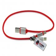 Kabel do ładowania 'zamek błyskawiczny' - czerwony