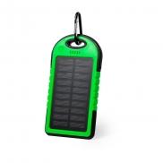 Wodoodporny power bank 4000 mAh, ładowarka słoneczna - zielony
