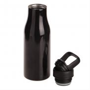 Butelka termiczna 475 ml Air Gifts z uchwytem i metalowym ringiem na spodzie, pojemnik w zakrętce - czarny
