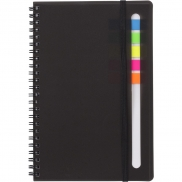 Zestaw do notatek, notatnik ok. A5, karteczki samoprzylepne - czarny