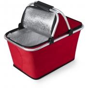 Koszyk poliestrowy, składany, torba termoizolacyjna - czerwony