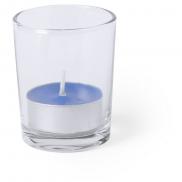 Szklany świecznik, świeczka zapachowa - niebieski