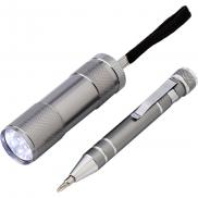 Zestaw narzędzi, latarka, śrubokręt - srebrny