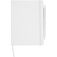 Średniej wielkości notatnik Prime z długopisem, biały