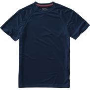 Męski T-shirt Serve z krótkim rękawem z dzianiny Cool Fit odprowadzającej wilgoć, 3xl, granatowy