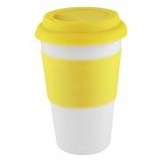 Kubek z elementami silikonu - żółty